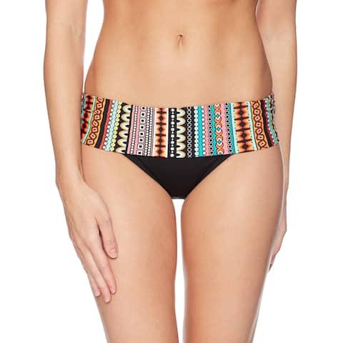 Jantzen Black Womens Size 14 Printed Foldover Swim Bikini Bottom