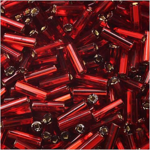 Czech Glass Bugle Beads, Cylinder Size 3 '7mm', 24 Gram Tube, Garnet S/L