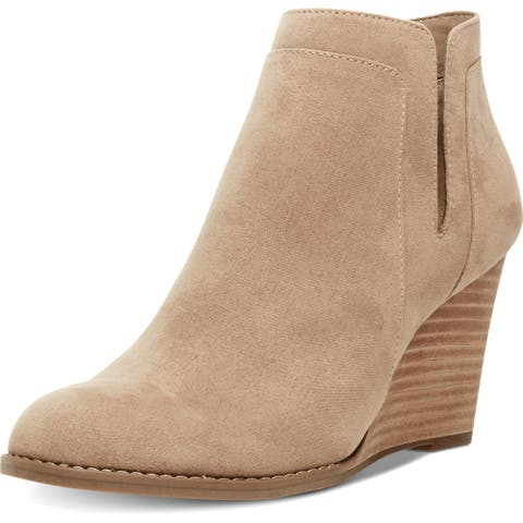 Madden Girl Womens Greteel Ankle Boots Faux Suede Wedge