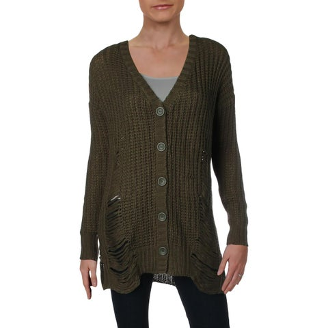 Derek Heart Womens Cardigan Sweater V-Neck Drop Shoulder - S