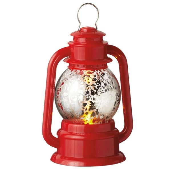 "4.5"" Red and Silver LED Lighted Lantern Christmas Ornament"