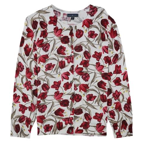 Karen Scott Womens Tulip-Print Cardigan Sweater