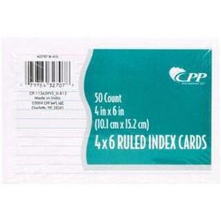"Ruled; White - Index Cards 4""X6"" 50/Pkg"