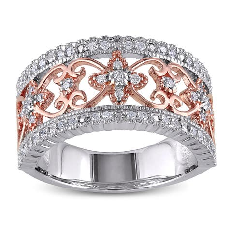 2-tone Sterling Silver Filigree 1/4ct TDW Diamond Band by Miadora