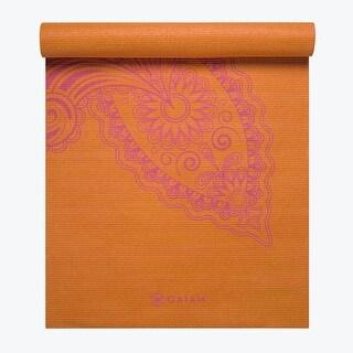 GAIAM Premium Paisley Flower Printed Yoga Mats (3MM) Printed Orange