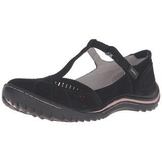 Jambu Womens bridget Fabric Closed Toe T-Strap Mary Jane Flats