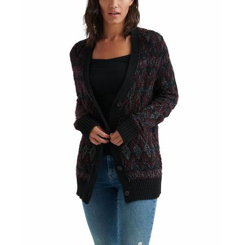 Lucky Brand Women's Black Comb Size XS Shine Fair Isle Cardigan
