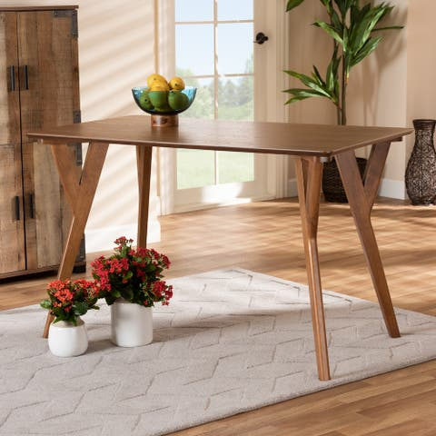 Sahar Walnut Brown Finished Wood Dining Table