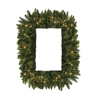"36"" Pre-Lit Camdon Fir Rectangular Artificial Christmas Wreath -Clear LED Lights - green"