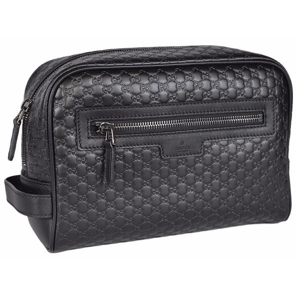 Gucci Men X27 S 419775 Black Leather Micro Gg Guccissima Large Toiletry Dopp Bag