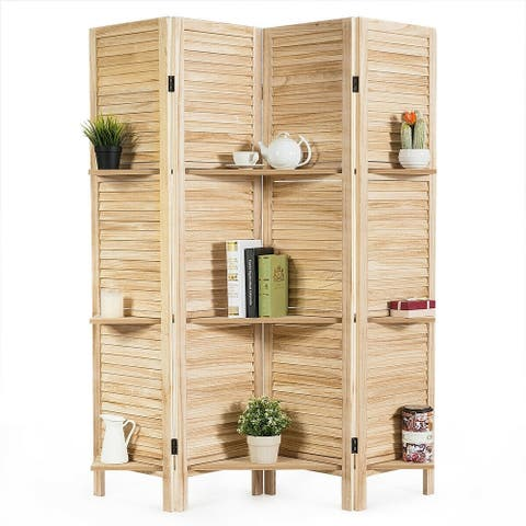 4 Panel Folding Room Divider Screen with 3 Display Shelves-Brown - Brown