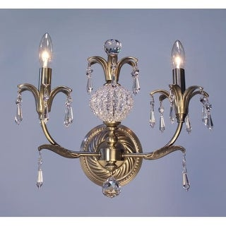 """Classic Lighting 16112-ABR 12"""" Crystal Wallchiere from the Sharon Collection"""