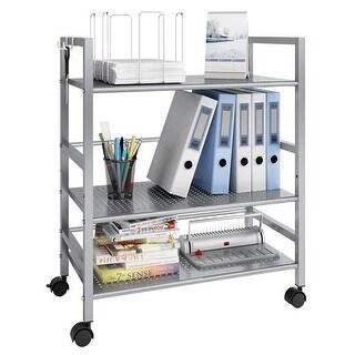 LANGRIA 3-Tier Rolling Serving Utility Cart Kitchen Storage Cabinet, White