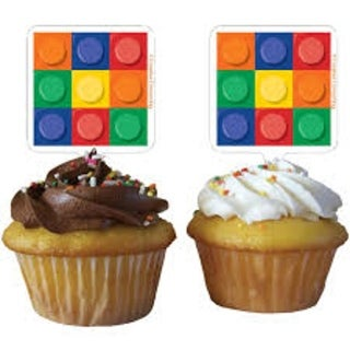Club Pack of 144 Multicolor Square Birthday Block Party Cupcake Toppers - multi