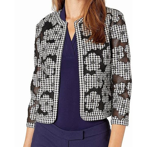 Anne Klein Women's Jacket Black Size 14 Gingham Floral Mesh Fly Away
