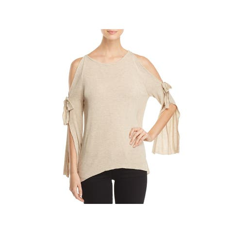 Elan Womens Pullover Top Cold Shoulder Heathered