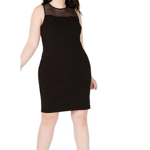 B. Darlin Women's Dress Deep Black Size 24W Plus Sheath Crepe Stretch
