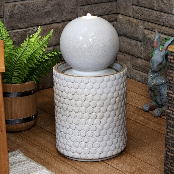 Sunnydaze Modern Orb on Circle-Pattern Base Ceramic Outdoor Fountain with LEDs - 23-Inch. Opens flyout.