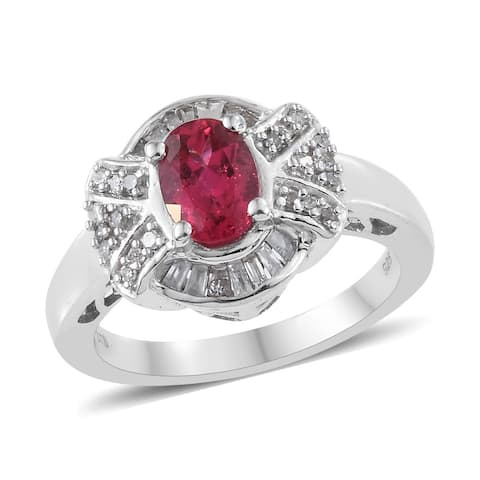 925 Silver Rubellite White Diamond Halo Ring Ct 1 I Color I3 Clarity