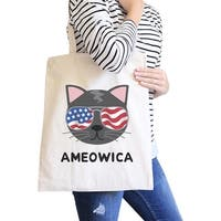 Ameowica Natural Eco-Friendly Canvas Bag Unique Cat Design Tote Bag