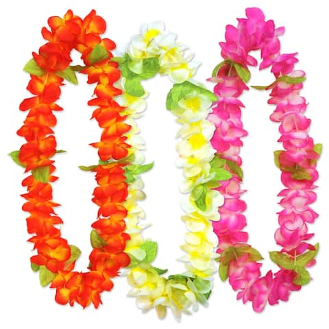 18-Pieces Assorted Colors Sunset Floral Leis 36""