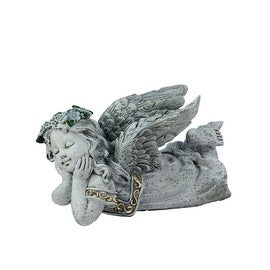 "7.5"" Heavenly Gardens Distressed Gray Daydreaming Cherub Angel Outdoor Patio Garden Statue"