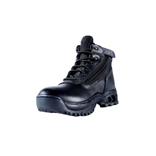 "Ridge Tactical Boots Mens Mid Side Zip 6"" Shaft Leather Black"