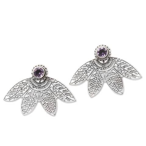 NOVICA Jungle Lace, Amethyst ear jacket earrings