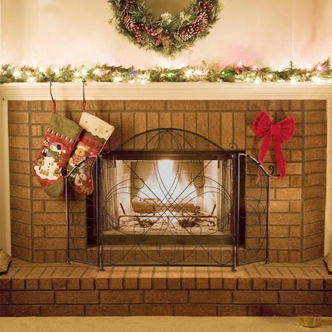 Living Room Two-Fold Decoration Iron Fireplace Screen