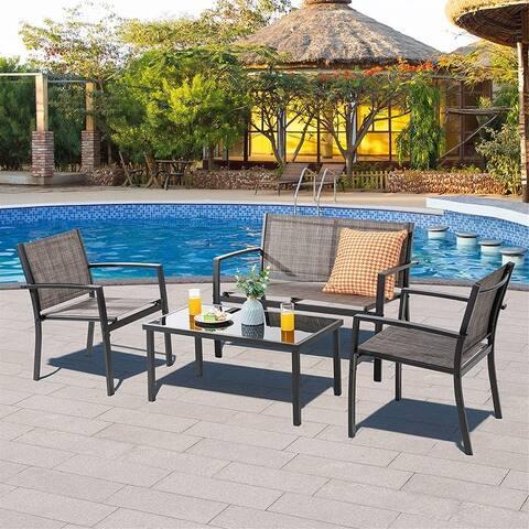 4 Pieces Patio Furniture Sets, Lawn Garden Porch Balcony Mesh Bistro Set Backyard Patio Set w/Loveseat&Glass Table
