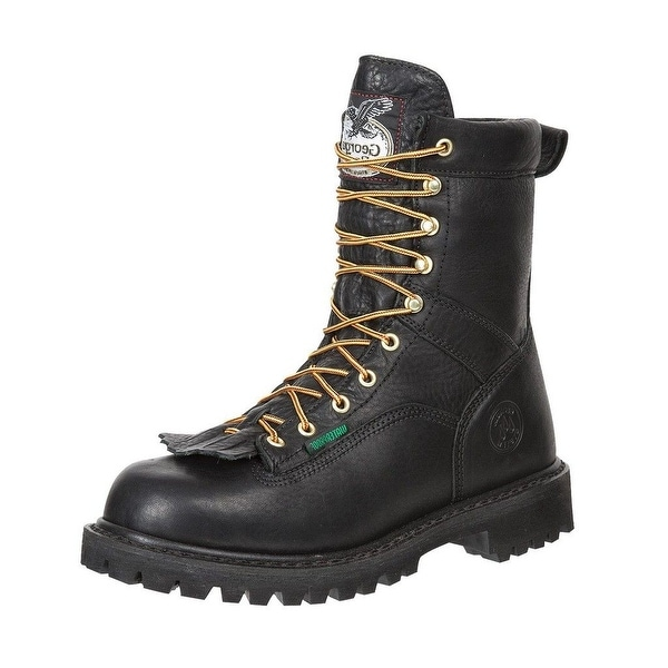 "Georgia Boot Work Mens 8"" Steel Toe Waterproof Lace Black"