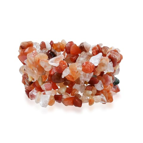 Earth Tone Multi Color Crystal Chip Stone Wide Chunky Cluster Multi Strand Stretch Bracelet For Women