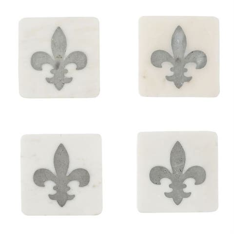 Mud Pie Fleur de Lis Marble Elegant Drink Coasters Set of 4