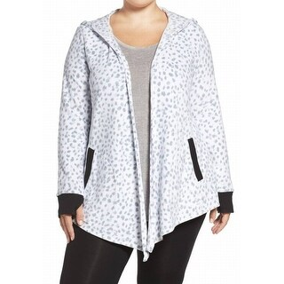 DKNY NEW White Womens Size 2X Plus Fleece Bedtime Cardigan Sweater
