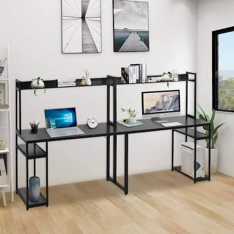 Home office double Workstation Desk, Two Person Computer Desk with Storage,Multifunction Writing Desk with Shelf