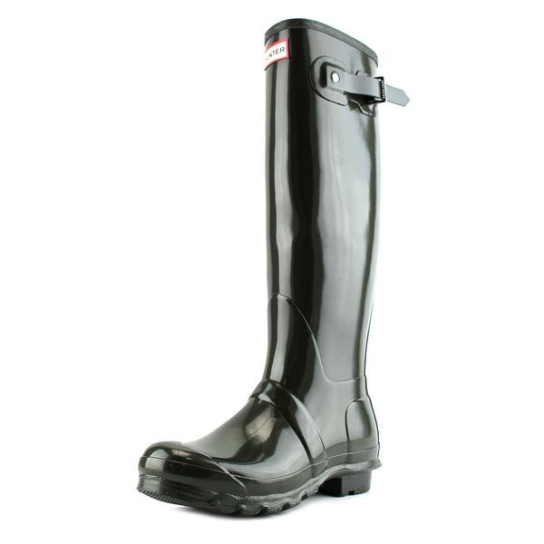 Hunter Original Tall Gloss Women Round Toe Synthetic Green Rain Boot