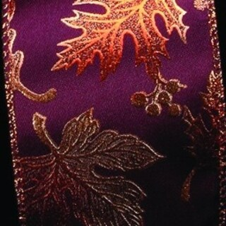 """Burgundy Background With Copper Leaves Wired Craft Ribbon 3"""" x 20 Yards"""