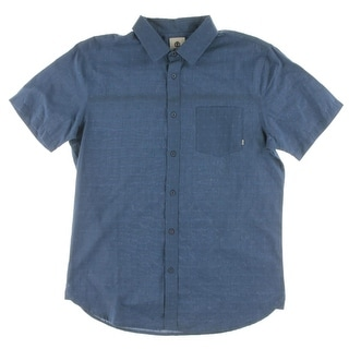 Element Mens Button-Down Shirt Embroidered Short Sleeve - L