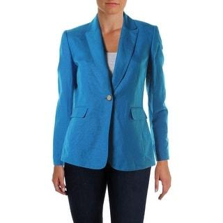 Tahari ASL Womens Petites Tina Linen Long Sleeves One-Button Blazer - 16p