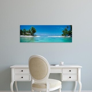 Easy Art Prints Panoramic Images's 'Palm trees on the beach, Tikehau, French Polynesia' Premium Canvas Art