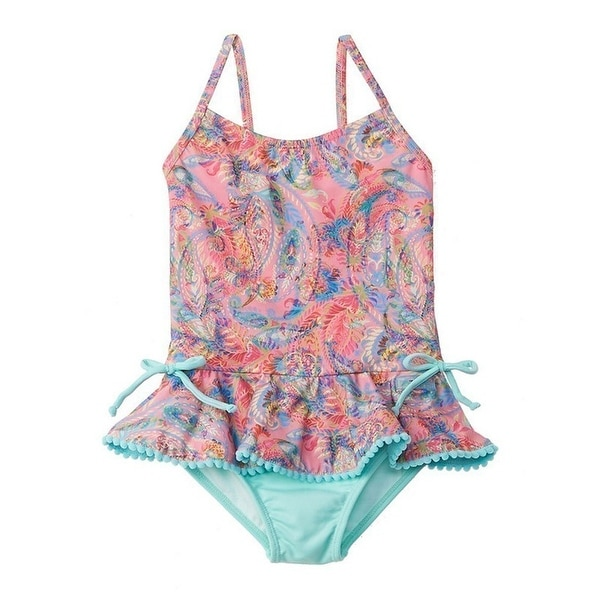 Azul Baby Girls Pink Paisley Fiesta Ruffle Trim One Piece Swimsuit