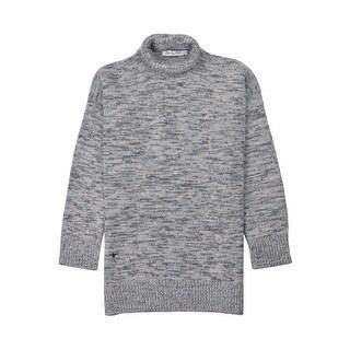 Dior Women's Blue Grey Wool Turtleneck Knit Tunic Sweater