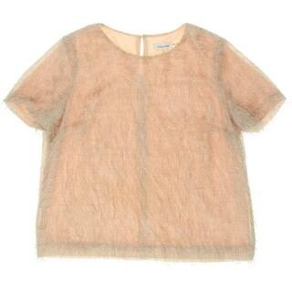 Calvin Klein Womens Eyelash Fringe Short Sleeves Pullover Top