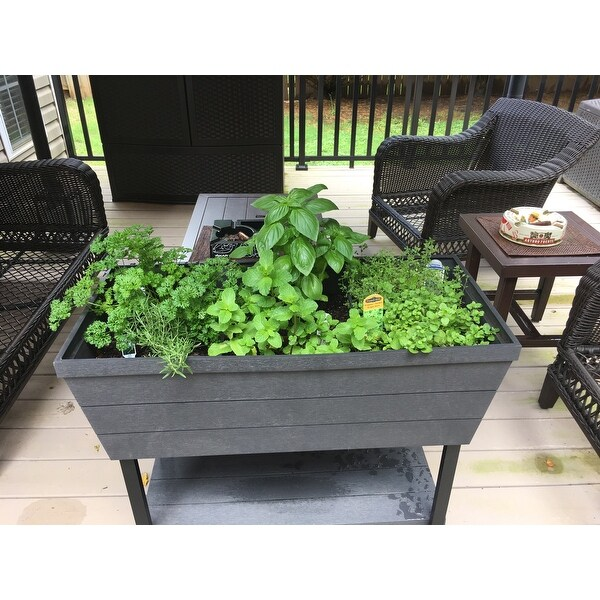 Shop Keter Urban Bloomer Flower Plant Planter Raised Elevated Garden Bed    Free Shipping Today   Overstock.com   21145498
