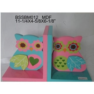 """7"""" Pink and Blue Contemporary Owl Bookend"""