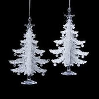 """Club Pack of 24 White Frosted Tree with Star Tree Topper Christmas Ornaments 5"""""""