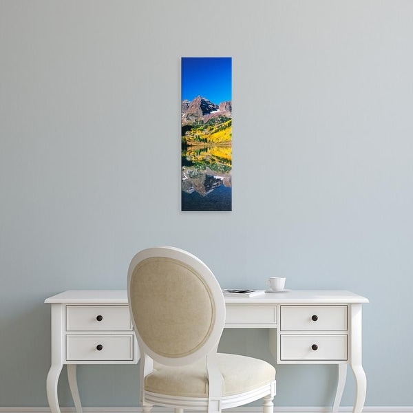 Easy Art Prints Panoramic Image 'Reflection of mountain, Maroon Bells, Elk Mountains, Pitkin, Colorado' Canvas Art