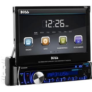 Boss Audio BV9986BI Boss Audio BV9986BI Single-DIN 7 inch Motorized Touchscreen DVD Player Receiver, Bluetooth, Detachable Front|https://ak1.ostkcdn.com/images/products/is/images/direct/68dc40ab6263fcdfe286451d5a261b79692fa8e0/Boss-Audio-BV9986BI-Boss-Audio-BV9986BI-Single-DIN-7-inch-Motorized-Touchscreen-DVD-Player-Receiver%2C-Bluetooth%2C-Detachable-Front.jpg?impolicy=medium