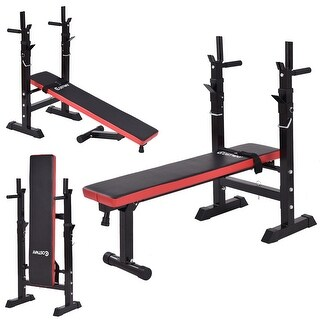 Costway Adjustable Folding Weight Lifting Flat Incline Bench Fitness Workout - Black