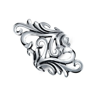 Bling Jewelry 925 Silver Modern Swirl Vine Leaf Cocktail Ring